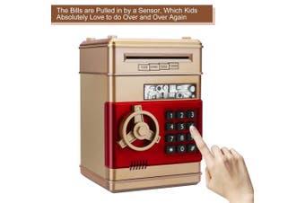 (Gold) - Asoner Cartoon Piggy Bank, Electronic ATM Password Cash Coin Can Auto Scroll Paper Money Saving Box Gift For Kids (gold)