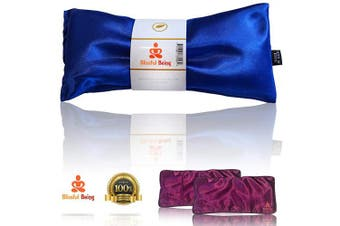 (Sapphire with cover) - Blissful Being Lavender Eye Pillow with Purple Satin Cover- Hot or Cold Weighted Aromatherapy Eye Mask perfect for Naps, Yoga, Migraines - Natural Stress Relief (Sapphire with purple cover bundle)