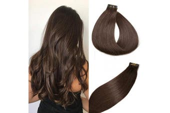 (41cm , #2 Dark brown) - Tape in Hair Extensions #2 Dark Brown 100% Remy Human Hair Extensions Silky Straight for Fashion Women 20 Pcs/Package(41cm #2 30g)