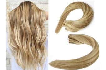 (60cm , #12P613 Light Brown/Bleach Blonde) - SeaShine Tape in Hair Extensions #12P613 Light Brown/Bleach Blonde 100% Remy Human Hair Extensions Silky Straight for Fashion Women 20 Pcs/Package(60cm #12P613 70g)