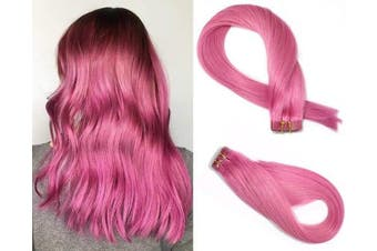 (46cm , #Pink) - SeaShine Tape in Hair Extensions #Pink 100% Remy Human Hair Extensions Silky Straight for Fashion Women 20 Pcs/Package(46cm #Pink 40g)