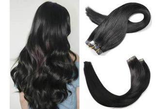 (41cm , #1 Jet black) - SeaShine Tape in Hair Extensions #1 Jet Black 100% Remy Human Hair Extensions Silky Straight for Fashion Women 20 Pcs/Package(41cm #1 30g)