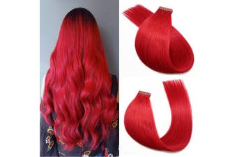 (46cm , #Red) - Tape in Hair Extensions #Red 100% Remy Human Hair Extensions Silky Straight for Fashion Women 20 Pcs/Package(46cm #Red 40g)