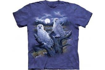 (XX-Large, Blue/Purple) - Bird/Bug T Shirt The Mountain - Snowy Owls Adult 2XL