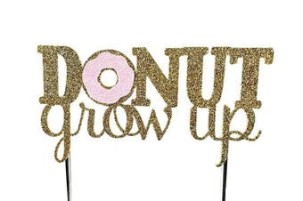 (Pink) - Handmade Donut Birthday Cake Topper Decoration - donut grow up - Made in USA with Double Sided Gold Pink Glitter Stock (Pink)