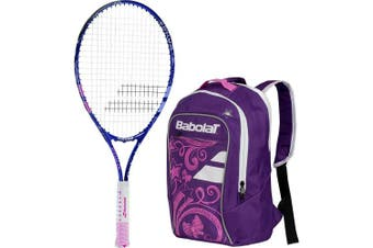 (60cm  Racquet) - Babolat B'Fly Child's Tennis Racquet/Racket bundled with a Junior Club Purple and Pink Tennis Backpack (Best Back to School Gift for Boys and Girls)