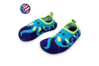 (11.5-12.5 M US Little Kid, Blue Octopus) - Bigib Toddler Kids Swim Water Shoes Quick Dry Non-Slip Water Skin Barefoot Sports Shoes Aqua Socks for Boys Girls Toddler