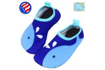 (7.5-8.5 M US Toddler, Blue Whale) - Bigib Toddler Kids Swim Water Shoes Quick Dry Non-Slip Water Skin Barefoot Sports Shoes Aqua Socks for Boys Girls Toddler