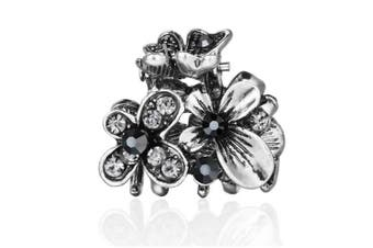 (Butterflies Grey) - Cottvott Ancient Silver Colour Mini Hair Claw Clips Accessory Small Flower Vintage Metal Hairpin for Women