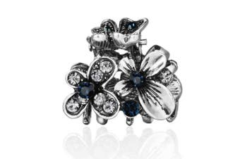 (Butterflies Grey Blue) - Cottvott Ancient Silver Colour Mini Hair Claw Clips Accessory Small Flower Vintage Metal Hairpin for Women