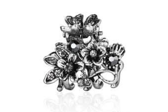 (Flower Branch Grey) - Cottvott Ancient Silver Colour Mini Hair Claw Clips Accessory Small Flower Vintage Metal Hairpin for Women