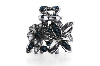 (Butterfly Flower-Blue) - Cottvott Ancient Silver Colour Mini Hair Claw Clips Accessory Small Flower Vintage Metal Hairpin for Women (Butterfly Flower-Blue)