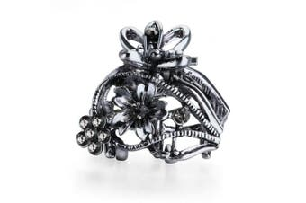(Hollow Flower Grey) - Cottvott Ancient Silver Colour Mini Hair Claw Clips Accessory Small Flower Vintage Metal Hairpin for Women (Flower2-Grey)