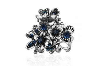 (Flower Branch Blue) - Cottvott Ancient Silver Colour Mini Hair Claw Clips Accessory Small Flower Vintage Metal Hairpin for Women