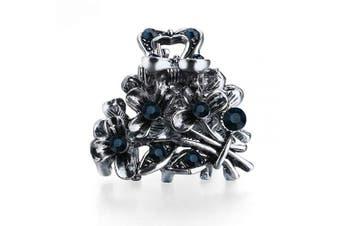(Bouquet Blue) - Cottvott Ancient Silver Colour Mini Hair Claw Clips Accessory Small Flower Vintage Metal Hairpin for Women (Bouquet blue)