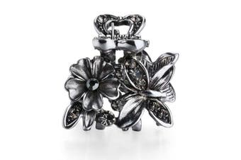 (Butterfly Flower-Gray) - Cottvott Ancient Silver Colour Mini Hair Claw Clips Accessory Small Flower Vintage Metal Hairpin for Women (Butterfly Flower-Grey)