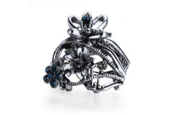 (Hollow Flower Blue Gray) - Cottvott Ancient Silver Colour Mini Hair Claw Clips Accessory Small Flower Vintage Metal Hairpin for Women (Flower2-Blue Grey)