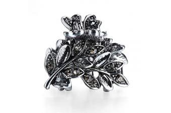(Leaf-Gray) - Cottvott Ancient Silver Colour Mini Hair Claw Clips Accessory Small Flower Vintage Metal Hairpin for Women (Leaf-Grey)