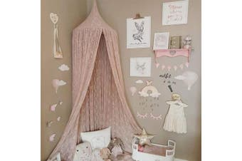 (Pink) - Princess Bed Canopy Mosquito Net for Kids Baby Crib, Round Dome Kids Indoor Outdoor Castle Play Tent Hanging House Decoration Reading nook Cotton Canvas,Pink
