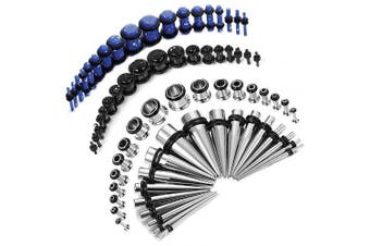 (Splatter Paint Blue and Black) - BodyJ4You 72PC Gauges Kit Acrylic Plugs Stainless Steel Tapers 14G-00G Ear Stretching Piercing Set