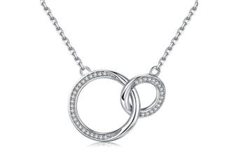 BlingGem Mother and Daughter/Soul Sister/Best Friend Necklace -925 Sterling Silver Two Interlocking Infinity Circles with Cubic Zirconia Pendant Necklace Ideal Gift for Women 46cm