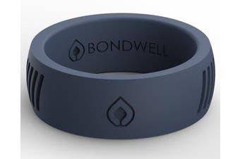 (8, Navy Tidal) - Bondwell BEST SILICONE WEDDING RING FOR MEN Protect Your Finger & Marriage Safe, Durable Rubber Wedding Band for Active Athletes, Military, Crossfit, Weight Lifting, Workout - 100% Guarantee