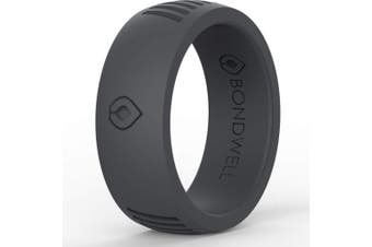(11, Dark Grey Tidal) - Bondwell BEST SILICONE WEDDING RING FOR MEN Protect Your Finger & Marriage Safe, Durable Rubber Wedding Band for Active Athletes, Military, Crossfit, Weight Lifting, Workout - 100% Guarantee