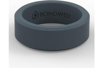(14, Storm Blue) - Bondwell BEST SILICONE WEDDING RING FOR MEN Protect Your Finger & Marriage Safe, Durable Rubber Wedding Band for Active Athletes, Military, Crossfit, Weight Lifting, Workout - 100% Guarantee
