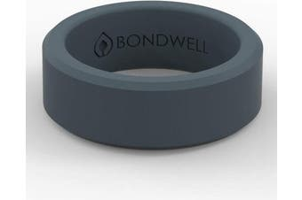 (7, Storm Blue) - Bondwell BEST SILICONE WEDDING RING FOR MEN Protect Your Finger & Marriage Safe, Durable Rubber Wedding Band for Active Athletes, Military, Crossfit, Weight Lifting, Workout - 100% Guarantee