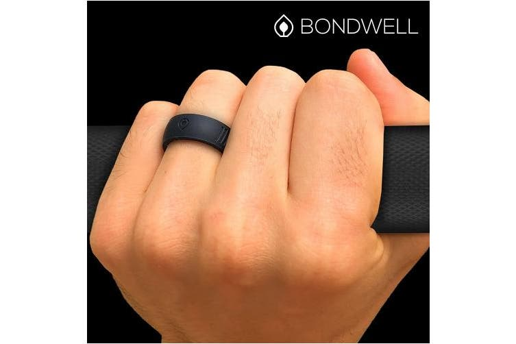 (12, Black Tidal) - Bondwell BEST SILICONE WEDDING RING FOR MEN Protect Your Finger & Marriage Safe, Durable Rubber Wedding Band for Active Athletes, Military, Crossfit, Weight Lifting, Workout - 100% Guarantee