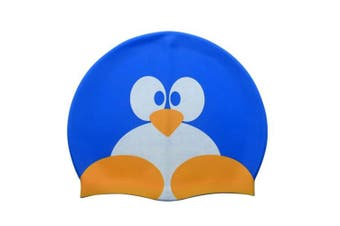 (Blue penguin) - Calunce Kids Cute Cartoon Critter Cap Silicone Swim Hat