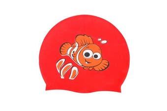 (red fish) - Calunce Kids Cute Cartoon Critter Cap Silicone Swim Hat