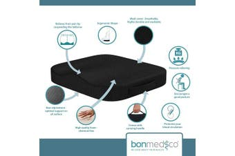 (Standard - Comfort, Black - Comfort) - bonmedico Comfort Cushion, Orthopaedic Memory Foam Seat Cushion For Coccyx & Lower Back Pain Relief, Pressure Relief Cushion Great As Office Chair Cushion, Portable Car Seat Cushion, Wheelchair Cushion