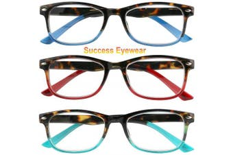 (1.5 x, Set of Havana Blue, Havana Purple, Havana Red) - Reading Glasses Set of 3 Great Value Spring Hinge Readers Men and Women Glasses for Reading +1.5