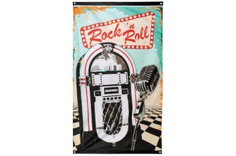 Fancy Dress VIP 90cm x 150cm Rock n' Roll Jukebox 50s Retro Diner Flag Banner Party Decoration