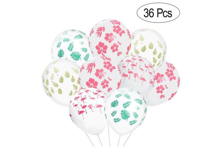 LUOEM Hawaiian Party Balloons, 36PCS Luau Tropical Party Decoration Flamingo Balloons Pineapple Hibiscus Flower Balloons Summer Beach Party Supplies
