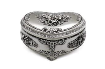 (Medium) - AVESON Classic Vintage Heart Shape Metal Jewellery Box Ring Trinket Storage Organiser Chest Christmas Gift, Medium