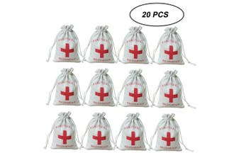 AmaJOY 20pcs Wedding Party Favour Bags 10x15c Red Cross Bachelorette Hangover Kit Bags Recovery Kit Bags Survival Kit Bags Cotton Muslin Drawstring Bag