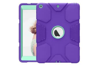 (Purple / Blue) - HyFone iPad 9.7 2018 / 2017 Case, iPad 6th / 5th Generation Case Rugged Heavy Duty High-Impact Shockproof Hard Rubber Protective Case for iPad A1893 A1954 A1822 A1823 - [Purple/Blue]
