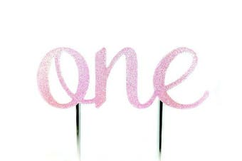 (Pink) - CMS Design Studio Handmade 1st First Birthday Cake Topper Decoration - One - Made in USA with Double Sided Glitter Stock (Pastel Pink)