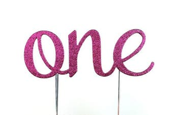 (Hot Pink) - CMS Design Studio Handmade 1st First Birthday Cake Topper Decoration - One - Made in USA with Double Sided Glitter Stock (Hot Pink)