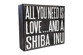 JennyGems All You Need is Love and a Shiba Inu - Wooden Distressed Stand Up Box Sign