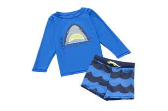 (2-3 years(90cm  - 90cm )) - 7-Mi Boys Swimsuit,UV Rash Guard Long Sleeve Full body Swimwear - Sunsafe Protection - 3D Shark Design Toddler Kids Baby Girl Swimsuits (10-12 Month & 29-80cm )