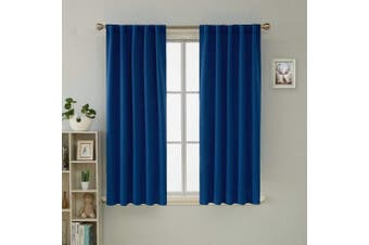 (110cm  x 110cm , Royal Blue) - Deconovo Royal Blue Blackout Curtains for Kitchen Window Insulating Back Tab and Rod Pocket Curtains 110cm x 110cm 2 Panels