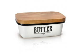 (Cream Grey) - GranRosi Butter Dish - Vintage Enamel Butter Container With Versatile Wooden Lid - Perfect To Keep Your Butter Soft