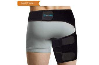(Hip 70cm  - 90cm , Black) - BODYMATE Compression Brace for Hip, Sciatica Nerve Pain Relief Thigh Hamstring, Quadriceps, Joints, Arthritis, Groyne Wrap for Pulled Muscles, Hip Strap, Sciatica Brace/SI Belt