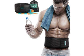 (S/M) - Marakym Back Brace-Lower Back Support Belt with Dual Adjustable Straps and Breathable Mesh Panels for Women and Men PLUS Kinesiology Tape and Carry Bag INCLUDED (S/M)