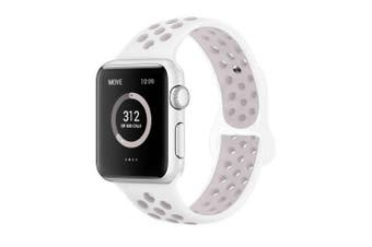 (42mm M/L, White/Lavender) - AdMaster Compatible for Apple Watch Bands 38mm 42mm,Soft Silicone Replacement Wristband for iWatch Apple Watch Series 1/2/3