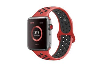 (38mm S/M, Red/Black) - AdMaster Compatible for Apple Watch Bands 38mm 42mm,Soft Silicone Replacement Wristband for iWatch Apple Watch Series 1/2/3