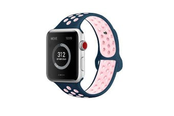 (42mm M/L, Midnight Blue/Vintage Rose) - AdMaster Compatible for Apple Watch Bands 38mm 42mm,Soft Silicone Replacement Wristband for iWatch Apple Watch Series 1/2/3
